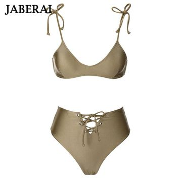 JABERAI Strappy Bralette High Waist Swimsuit Champagne Solid Bikini Set women Swimwear bandeau push up padded brazilian biquini