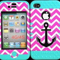 Bumper Case for Iphone 4 4s Anchor on Pink Chevron Design Hard Plastic Snap on Baby Teal Silicone Gel