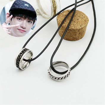 Youpop KPOP Fan BTS Bangtan Boys Album V Titanium Steel Leather Chain Men or Women Ring