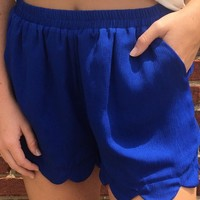 Scalloped Shorts - Royal Blue