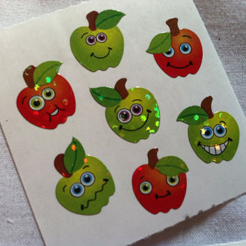 Lot of 3 Sandylion Stickers 100% School Assignment Teacher Stickers Apples Stars Good Job Marks Glitter Shimmery Awesome Job Red Green