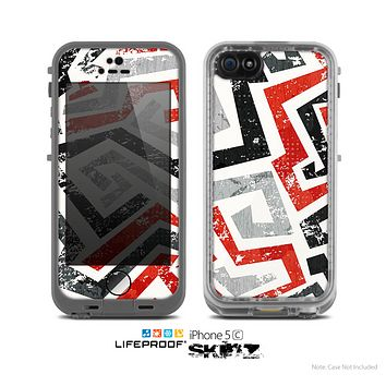 The Red-Gray-Black Abstract V3 Pattern Skin for the Apple iPhone 5c LifeProof Case