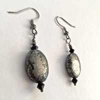 Sterling Silver Polished  Silver Toned Stone and Black Swarovski Crystal, French Hook Earrings, Casual Earrings