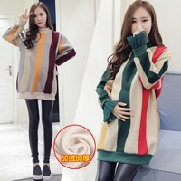 8723# 2018 Autumn Fashion Rainbow Colorful Striped Maternity Hoodies Loose Sweatshirts Shirts for Pregnant Women Pregnancy Tops