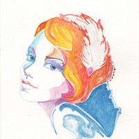 Original watercolor fashion illustration - blond girl