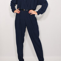 Navy jumpsuit Long sleeve jumpsuit Batwing jumpsuit