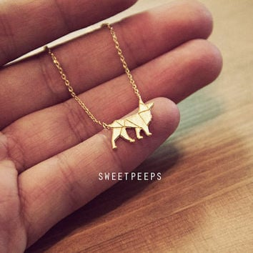 Gold Plated Tiny Fox Necklace