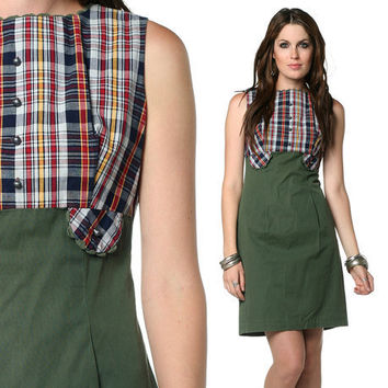 60s Plaid Dress Mod Mini Olive Green 1960s Empire Waist by oldage