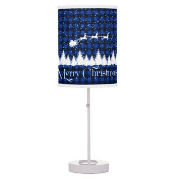 Santa's Christmas Sleigh Blue Desk Lamp