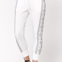 LA Hearts Tribal Side Printed Knit Joggers - Womens Pants - White