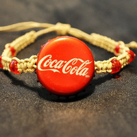 Red Coca Cola Recycled Bottle Cap Hemp Fully by BeautyntheBeach