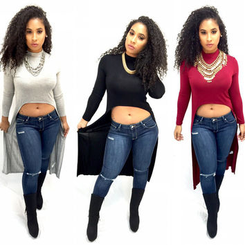 Tee Women's Fashion Irregular Long Sleeve Crop Top T-shirts = 5861648897