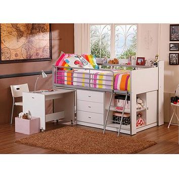 Savannah Storage Loft Bed with Desk, White - Walmart.com