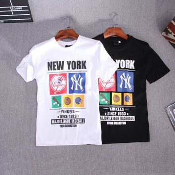 Couple Short Sleeve T-shirts Permeable Cotton Brush [211448037388]