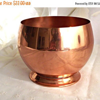 FALL SALE Pedestal Copper Planter, Coppercraft Guild Planter, Home Decor, Copper Craze, Succulent Copper Planter, Retro Decor