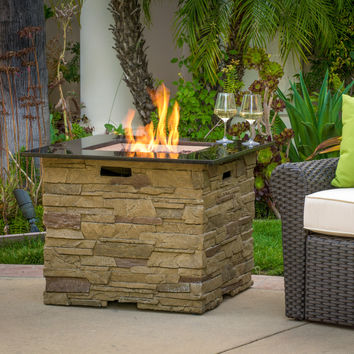 "Heritage 32"" Stone Square Fire Pit with Counter Top"