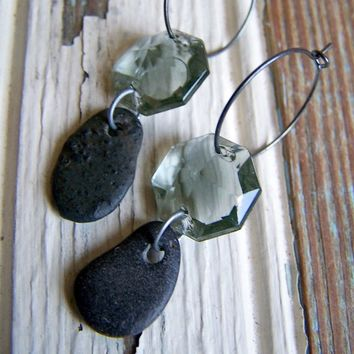 Vintage Gray Crystal Prism Drop and Beach Stone Earrings- Beach Stone Earrings - Hoop Earrings - Bohemian Jewelry - Boho Chic