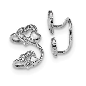 925 Sterling Silver Rhodium-plated CZ Double Heart Right Cuff Earrings