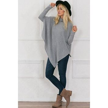 Soft Fleece Poncho - Grey