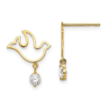 14K Yellow Gold Madi K CZ Children's Dove Dangle Post Earrings