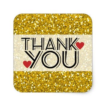 Sparkly Gold Glitter Wedding Shower Thank You Square Sticker