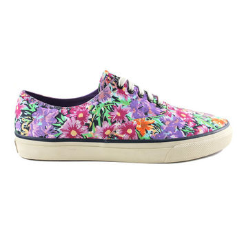 Sperry Top Sider Floral Print Canvas Sneakers Shoes Sz 10