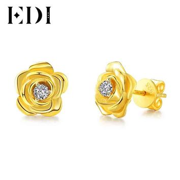 14KT Yellow Gold Wedding Earrings Solitaire Natural Diamond Stud Earrings