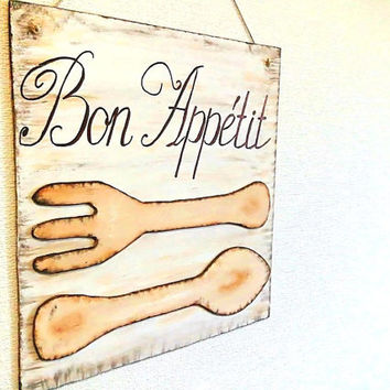 Kitchen decor, Wall art, Bon Appetit, Kitchen Sign, Wall decor, Dining room decor, Kitchen art, Eat sign, Fork and spoon wall art