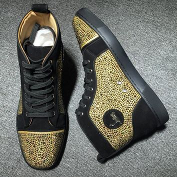 Christian Louboutin CL Rhinestone Style #1930 Sneakers Fashion Shoes Best Deal Online