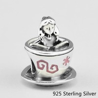 CKK Authentic 925 Sterling Silver Jewelry Alice in Wonderland Teacup Fashion Charms Beads Fits Pandora Bracelets