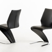 Modrest Penn Modern Black Leatherette Dining Chair (set of 2)