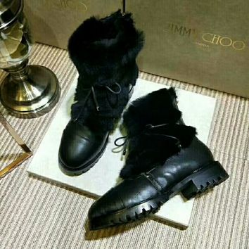 JIMMY CHOO  Trending Men Women Black Leather Side Zip Lace-up Ankle Boots Shoes High Boots