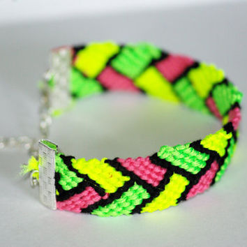 Neon Yellow, Green, Pink, and Black Friendship Bracelet With Clasp
