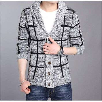 Mens Shawl Collar Gray Cardigan