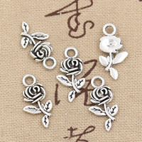 30pcs Charms flower rose 21mm Antique,Zinc alloy pendant fit,Vintage Tibetan Silver,DIY for bracelet necklace