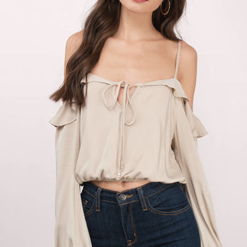Ellie Cold Shoulder Long Sleeve Top