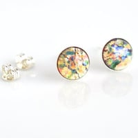 Glass studs, small studs, yellow green studs, stud earrings, post earrings, sterling silver, women's jewelry, multicolored