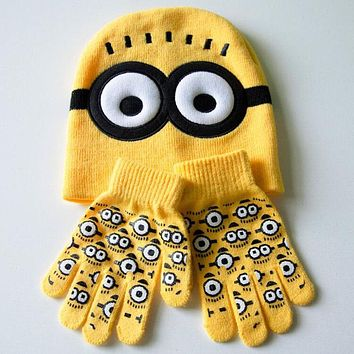 Autumn Winter Girls Boys Hat Set Cartoon Warm Minions Cap knitted Hat Gloves Children Fashion Kids Baby Warm Knitted Caps Gloves