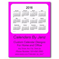 2016 Magenta Business Calendar by Janz Postcard