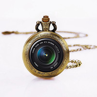 DSLR Lens Necklace, Pocket Watch Pendant ,Bronzen Necklace,Custom image Watch Neckalce,-Mother's Day gifts