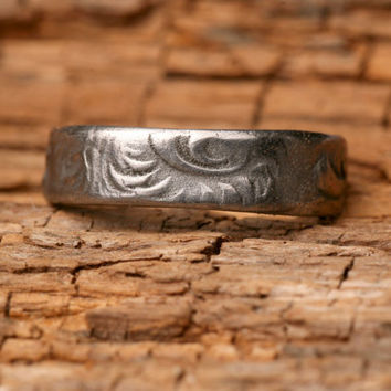 Custom Made Stainless Steel Floral Scroll Ring