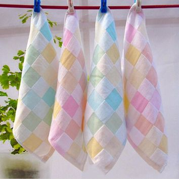 Square Towel Kids Baby Towel Cotton Feeding Bath Bathing Face Washing Cleaning Handkerchief Beach Hand Towel