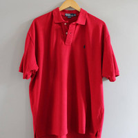 Ralph Lauren Polo Shirt Red Cotton Knit Classic Polo Button Up Short Sleeve Tee Minimalist Vintage 90s Size XXL #T183A