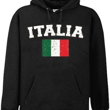 "Italy ""Italia"" Vintage Flag International Hoodie #1180"