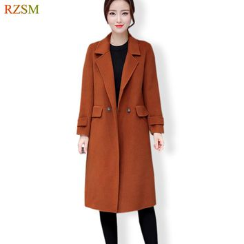 New Design Vogue Winter Women Coat Green Coffee Wool Coat Warm Outerwear Overcoat Plus Size Trench Female Free Shipping M-4XL