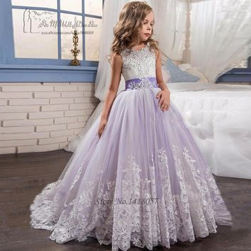 Vestidos de Primera Comunion Lavender Mother Daughter Gowns Pageant Dresses for Girls Ball Gown Lace Beads Evening Gowns Kids