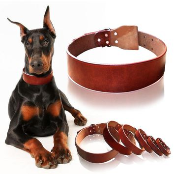 Top Quality Plain Cowhide Genuine Leather Pet Dog Collars Heavy Duty Deep Brown Size XS S M L XL XXL
