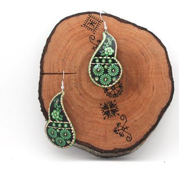 Green Leaf Earrings for Party or Prom-Copper Earrings-Flower Pattern-Handmade Jewelry-Turkish Earrings-Cheap Jewelry-Dangle Earrings