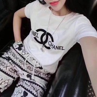 VONE05E Chanel' Women Casual Fashion Simple Letter Print Thickened Short Sleeve T-shirt Tops