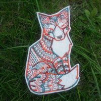 Iron On Patch Tribal Fox Applique in Cream and Autumn